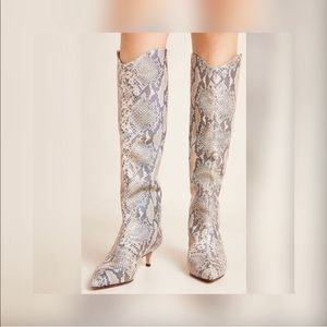 New Womens Schutz Abbey Snake-Printed Tall Boots